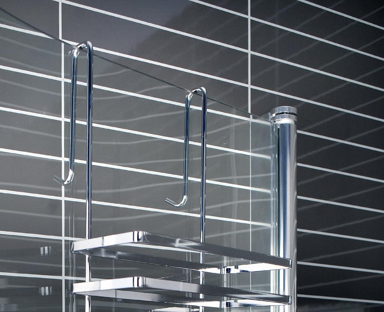 Estantería colgante de 3 niveles, para mampara de ducha, montaje sin agujeros, mercancía B con ligeros arañazos o defectos en el cromado: Amazon.es: Bricolaje y herramientas
