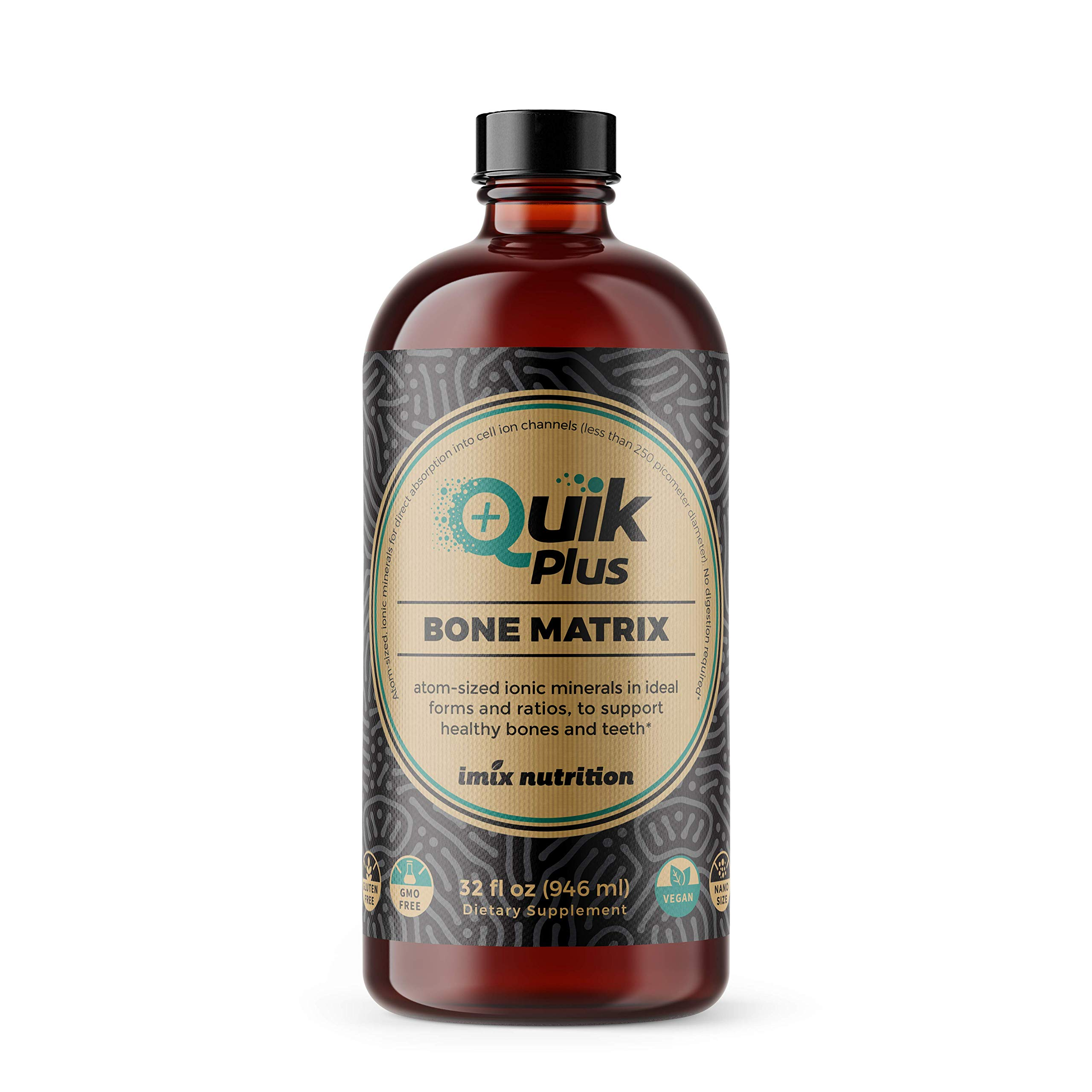 QuikPlus Bone Matrix with Calcium, Magnesium, Zinc, and Potassium - Includes 9 Ionic Liquid Minerals, Collagenizer for Bone and Teeth Support, Vegan, Gluten-Free, All Natural, 32 Ounce Bottle