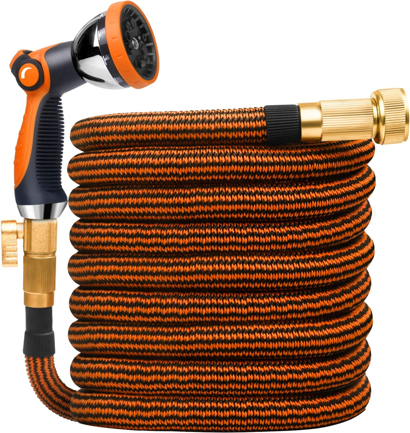 25FT Expandable Garden Hose , Expandable Water Hose With Auto 10 Function Spray Nozzle and Durable 3750D Fabric, 3/4 Solid Brass Connectors Garden Hose for Washing and Watering