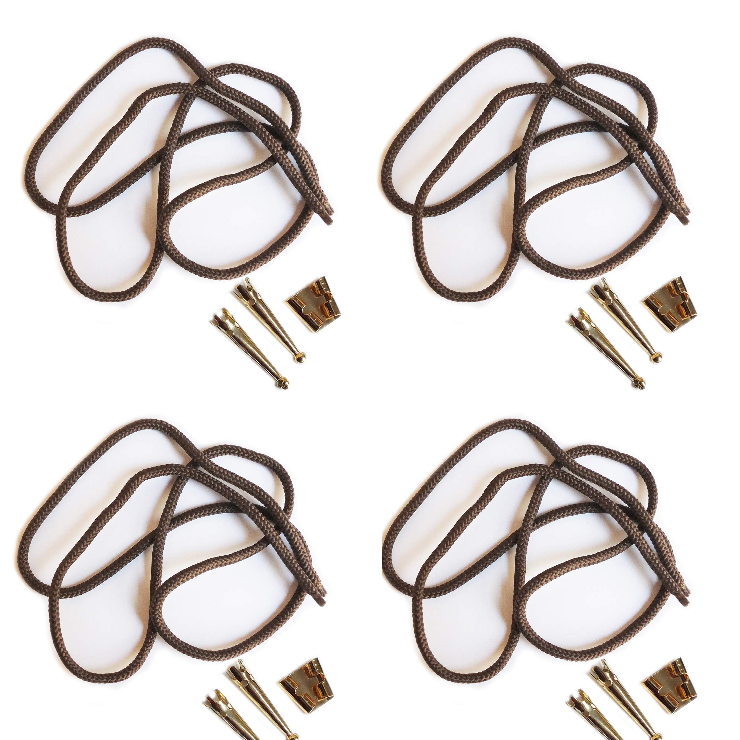 Blank Bolo String Tie Parts Kit Standard Slide Smooth Tips Brown Cord DIY Gold Tone Supplies for 4 Ties by BeadExplosion