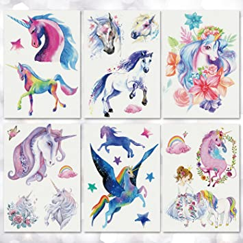 d7c39b1a8 Amazon.com : Leoars 6 Sheets Large Mysterious Unicorn Temporary Tattoo  Sticker for Women Men Teens Waterproof Tattoo Stickers Body Art Makeup Fake  Tattoos : ...