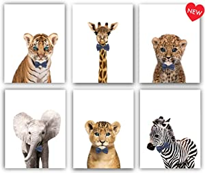 Designs by Maria Inc. Safari Bow Ties Baby Animals Nursery Decor Art - Set of 6 (Unframed) Wall Prints (8x10)