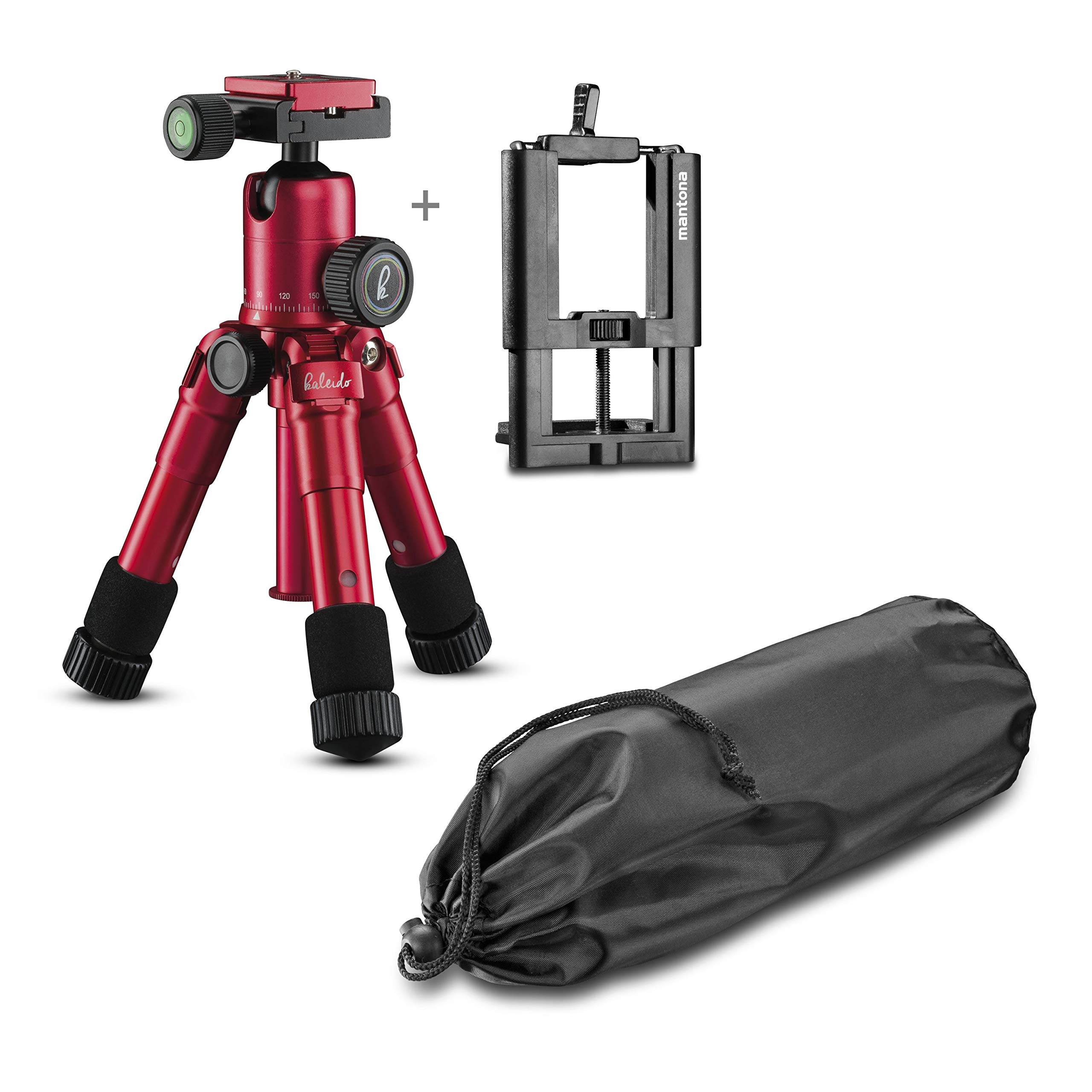 Mantona Kaleido 21185 Mini Photo/Table/Travel Tripod with Ball Head with Quick Release Plate and Carry Case by mantona