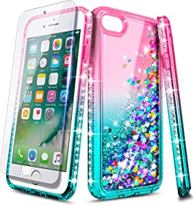 E-Began iPhone 6/6s/7/8 Case with Screen Protector Tempered Glass, Glitter Flowing Liquid Floating Quicksand Bling Diamond, Durable Girls Cute Case for iPhone SE 2020 (2nd Generation) -Pink/Aqua