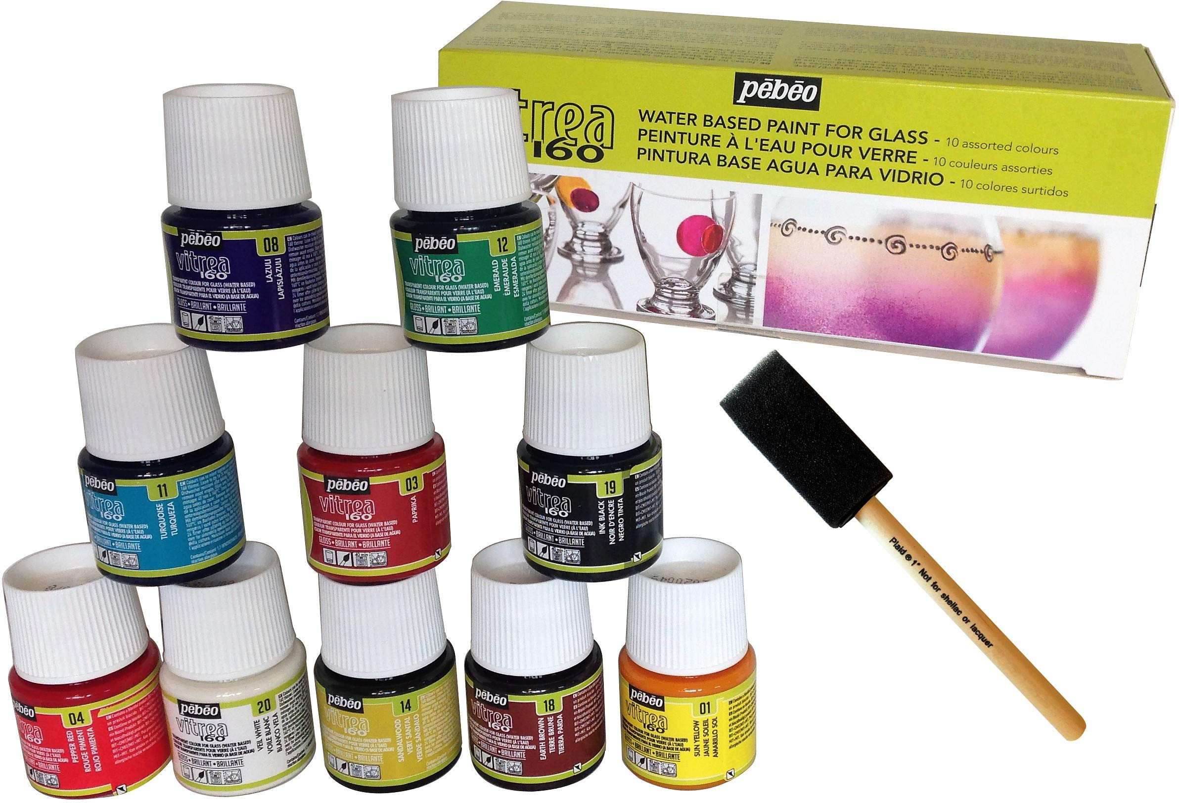 Permanent Glass Paint Stain Kit, 10 Pack, 1.5-Ounce Professional Stained Glass Finish by DIY Gateway