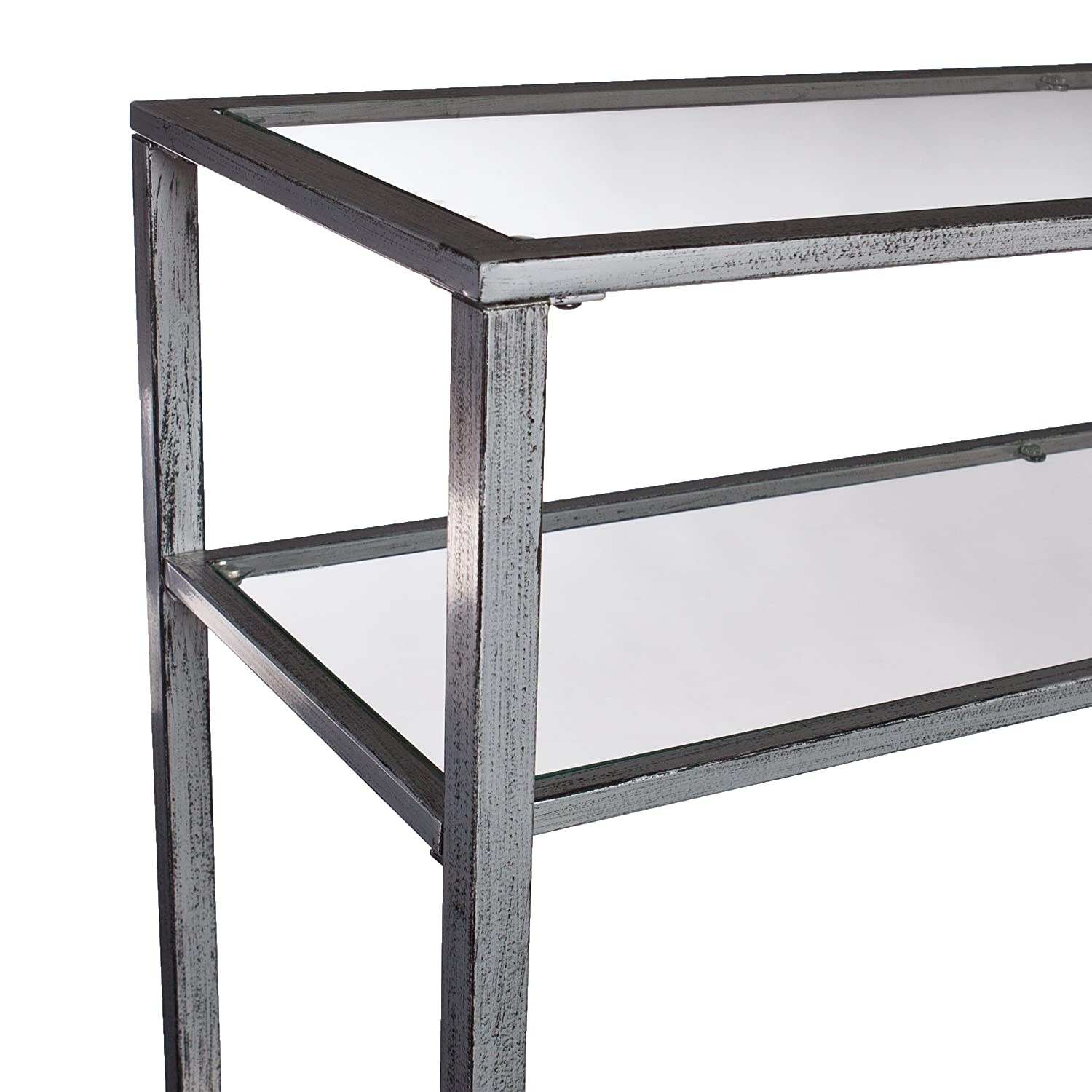 Amazon.com: Southern Enterprises Glass Media Console Table, Silver Frame  Finish: Kitchen U0026 Dining