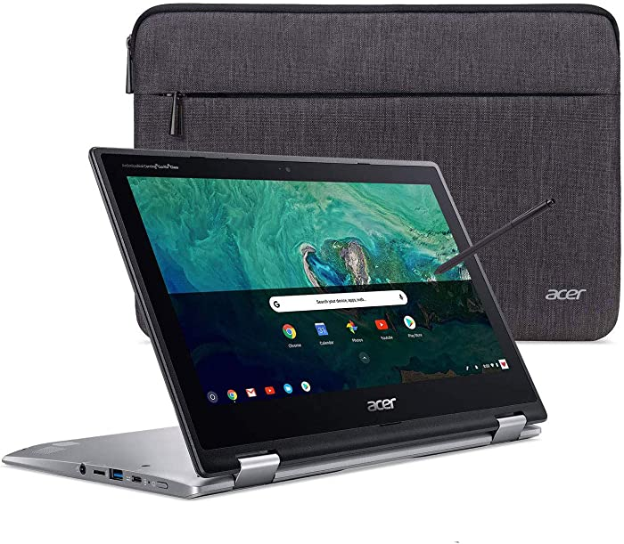 "Acer Chromebook Spin 11 Convertible Laptop, Intel Celeron N3350, 11.6"" HD Touch Display, 4GB DDR4, 32GB eMMC, 802.11ac WiFi, Wacom EMR Pen, Sleeve, CP311-1HN-C2DV"
