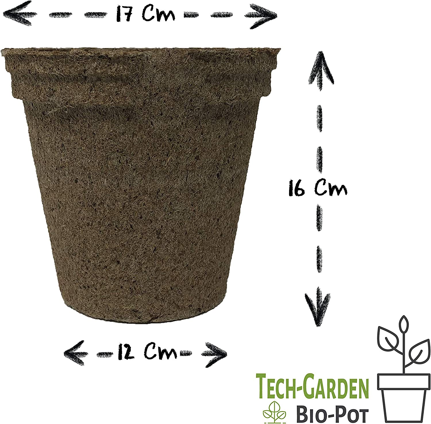 17 cm Jumbo Biodegradable Biopot Plant Pots Eco Friendly /& Compostable Round Seeding Germinating Plastic Free Peat Growing Sturdy Growing Pot with Drainage Holes Tech-Garden 6 Pack of