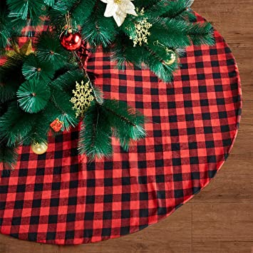 Buffalo Check Christmas Ornaments.Eiley 48 Inches Christmas Tree Skirt Red And Black Plaid Buffalo Check Double Layers Skirts For Christmas Decorations Indoor Outdoor Xmas Party