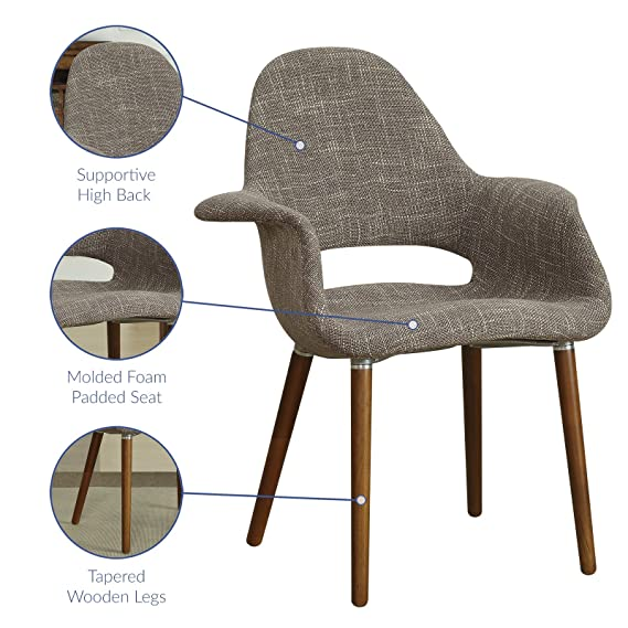 Amazon.com   Modway Aegis Mid Century Modern Upholstered Fabric Organic  Dining Armchair With Wood Legs In Taupe   Chairs