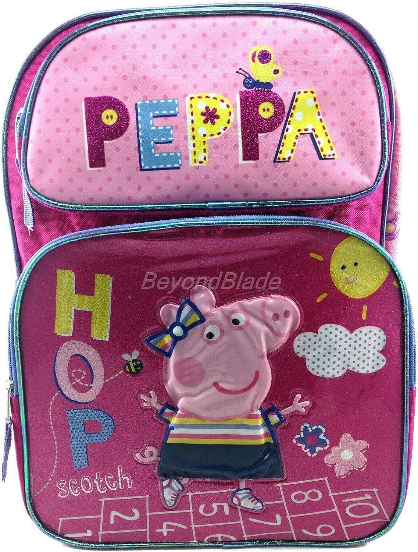 "Peppa Pig Girls Backpack kids School book bag toy travel games bag 12/"""
