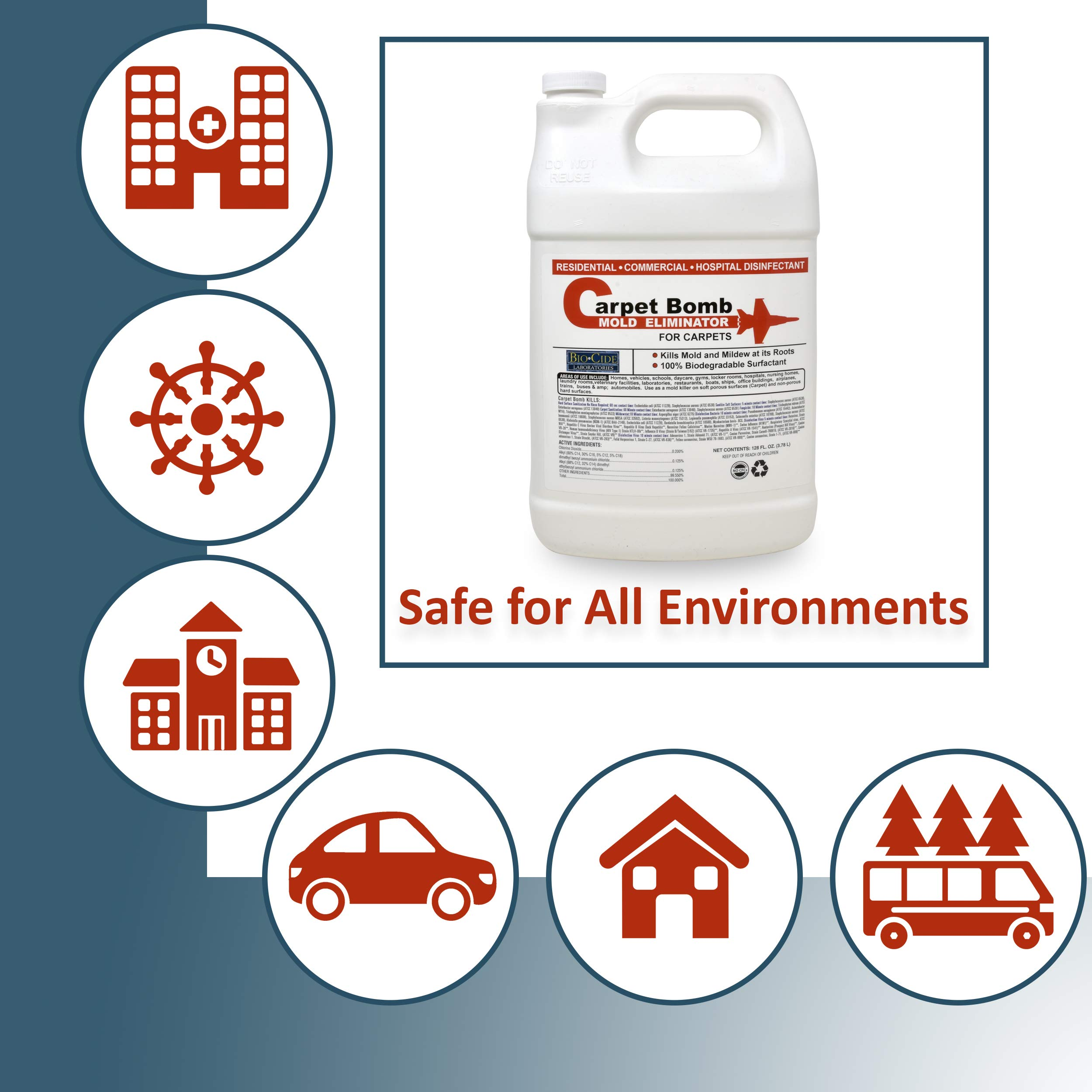 Biocide Carpet Mold Cleaner, Deep Stain and Odor Remover Solution, Mold Killer, Fogger, Deep Cleaner for all Surfaces, Fiber Materials, Rugs, Upholstery Fabric, Compatible with all Carpet Cleaners by Biocide Laboratories (Image #7)