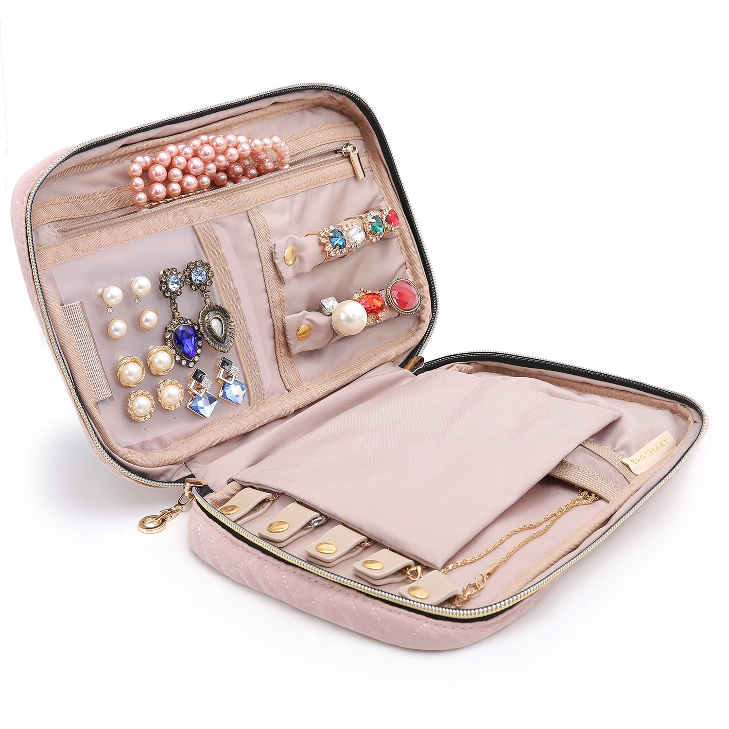 bagsmart Jewelry Organizer Bag Travel Jewelry Storage Cases for Necklace, Earrings, Rings, Bracelet, Pink by bagsmart
