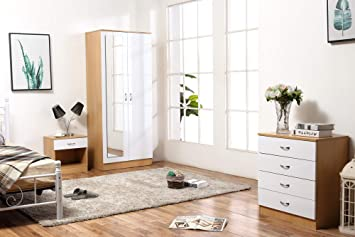 Harmin Ltd Ossotto Mirrored High Gloss 3 Piece Bedroom Furniture Set ...