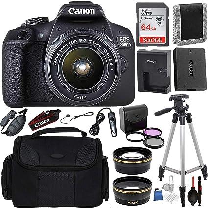 1a9f0c59b36 Amazon.com : Canon EOS 2000D (Rebel T7) Digital SLR Camera w/ 18 ...