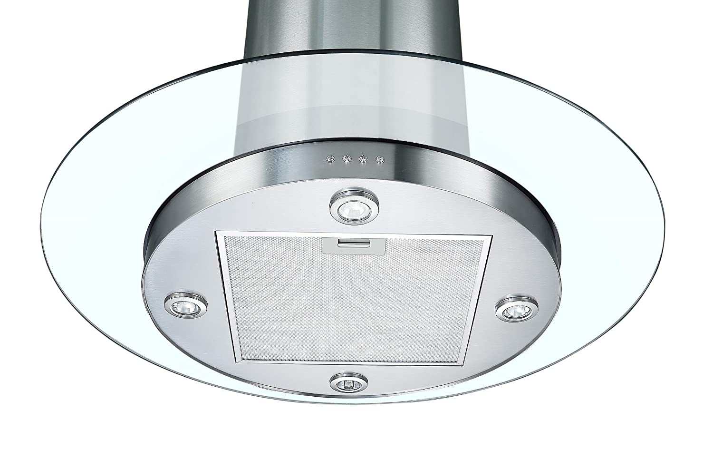 Cookology TUB900GL Dunstabzugshaube / Abluftventilator, 90 cm, rund ...