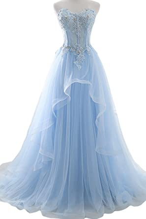 Lucysprom Sweetheart Prom Dresses Tulle With Applique Sweep Train