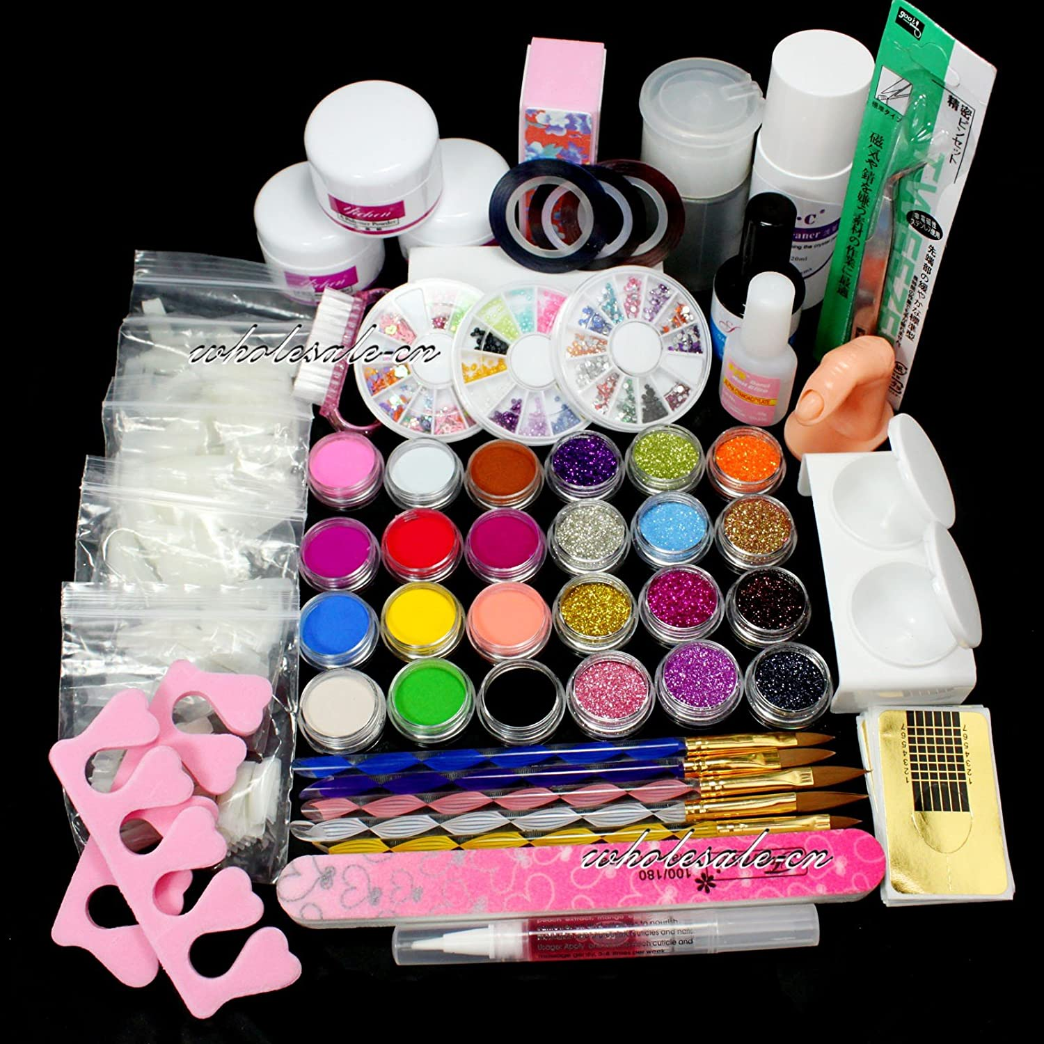 Buy Ry Full Nail Art Set Acrylic Glitter Powder Primer Tip Brush ...