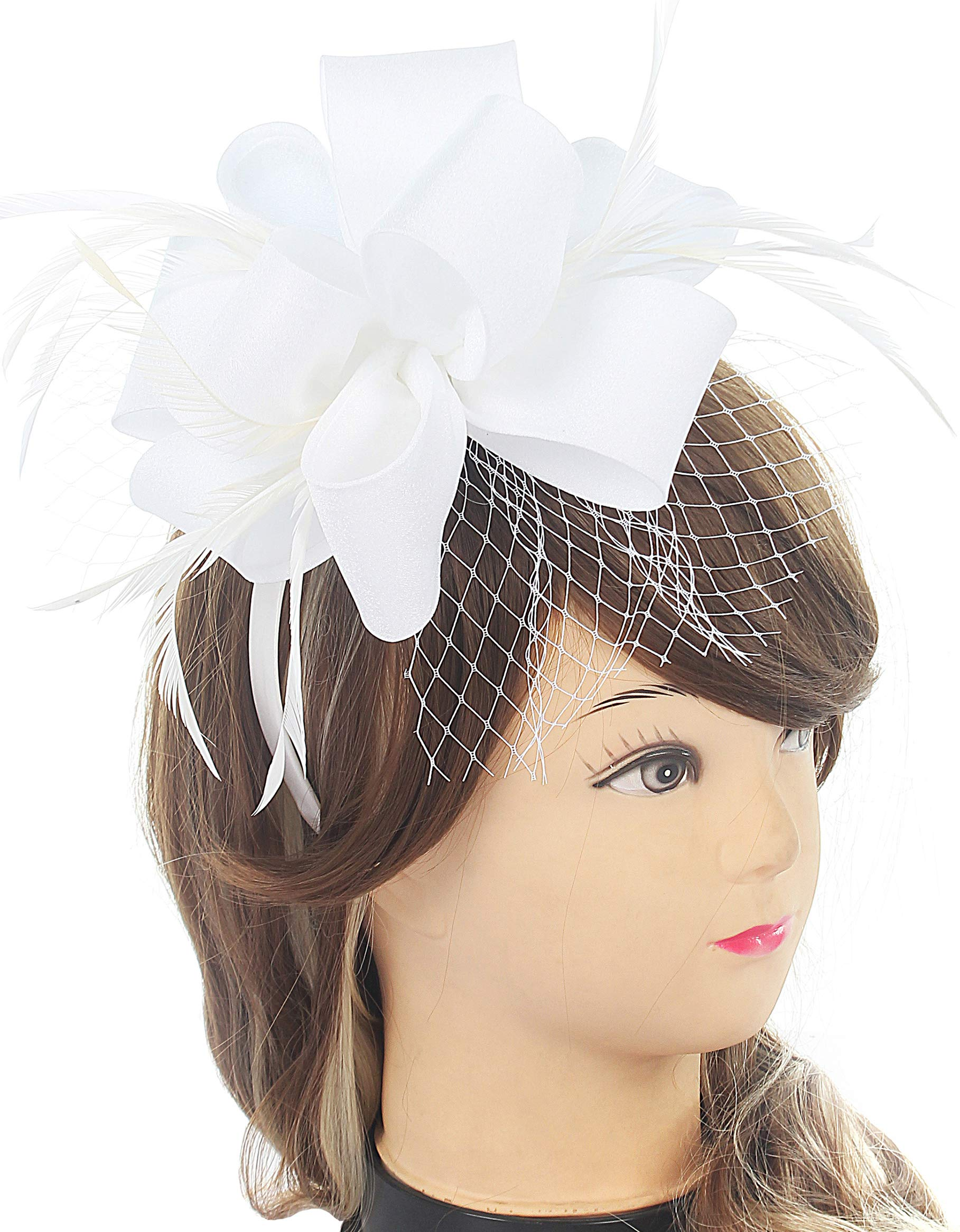 Myjoyday Fascinators with Feathers Clip Kentucky Derby Hats for Women Cocktail Tea Party Hair Fascinators White (Satin)