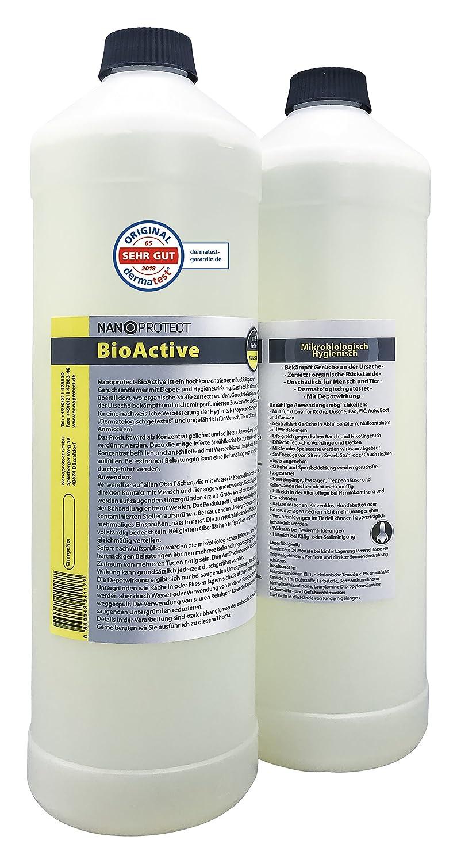 BioActive Universal | Biologischer Geruchsneutralisierer mit Wirkbeschleuniger | Natürlich, hygienisch und dauerhaft | Konzentrat | Gegen Uringeruch und Nikotingeruch Nanoprotect GmbH