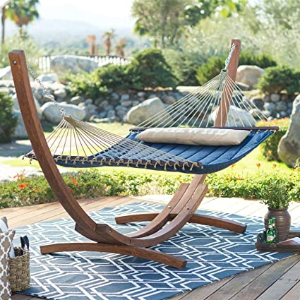 Amazoncom Blue 2 Person Quilted Hammock With Durable Wood Frame