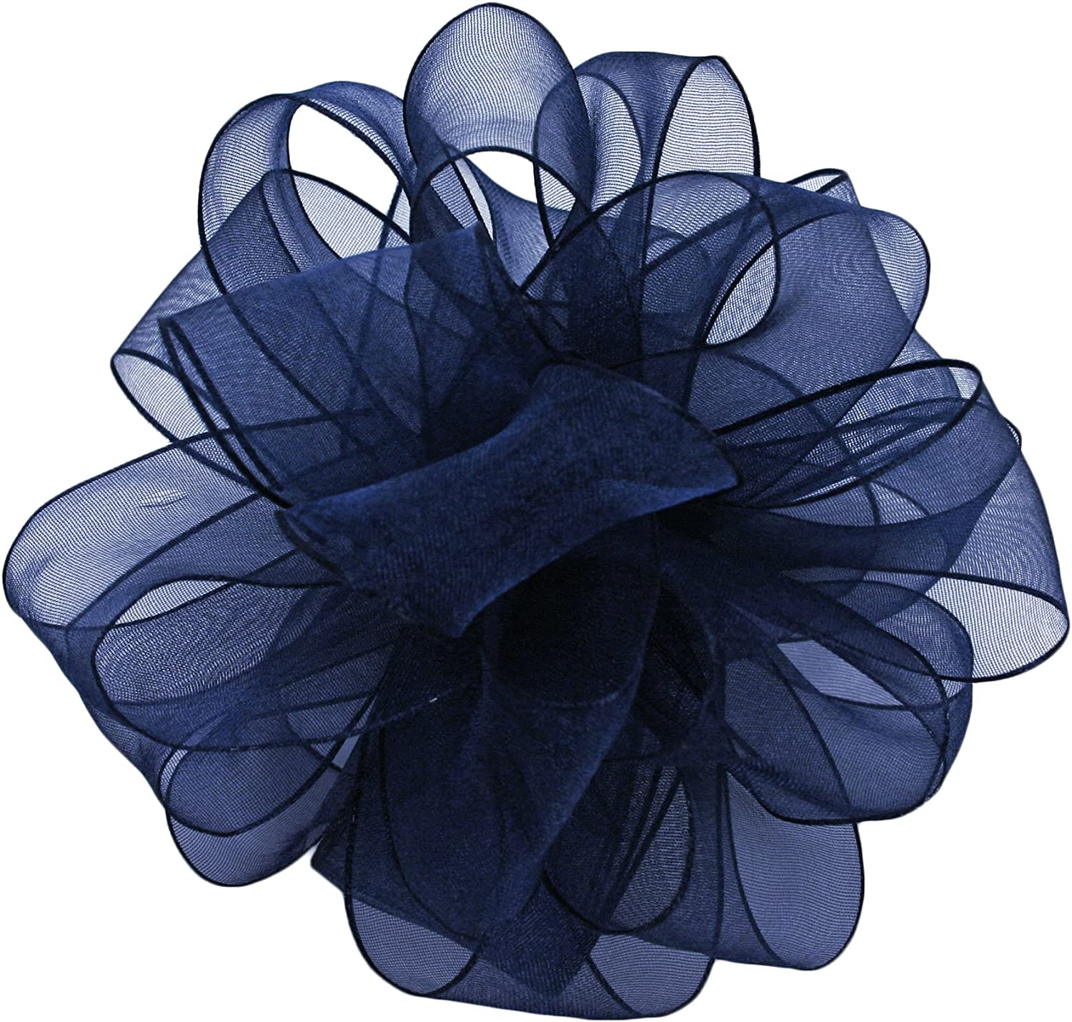 Navy 2-1//2-Inch Wide by 25-Yard Spool Offray Wired Edge Encore Sheer Craft Ribbon