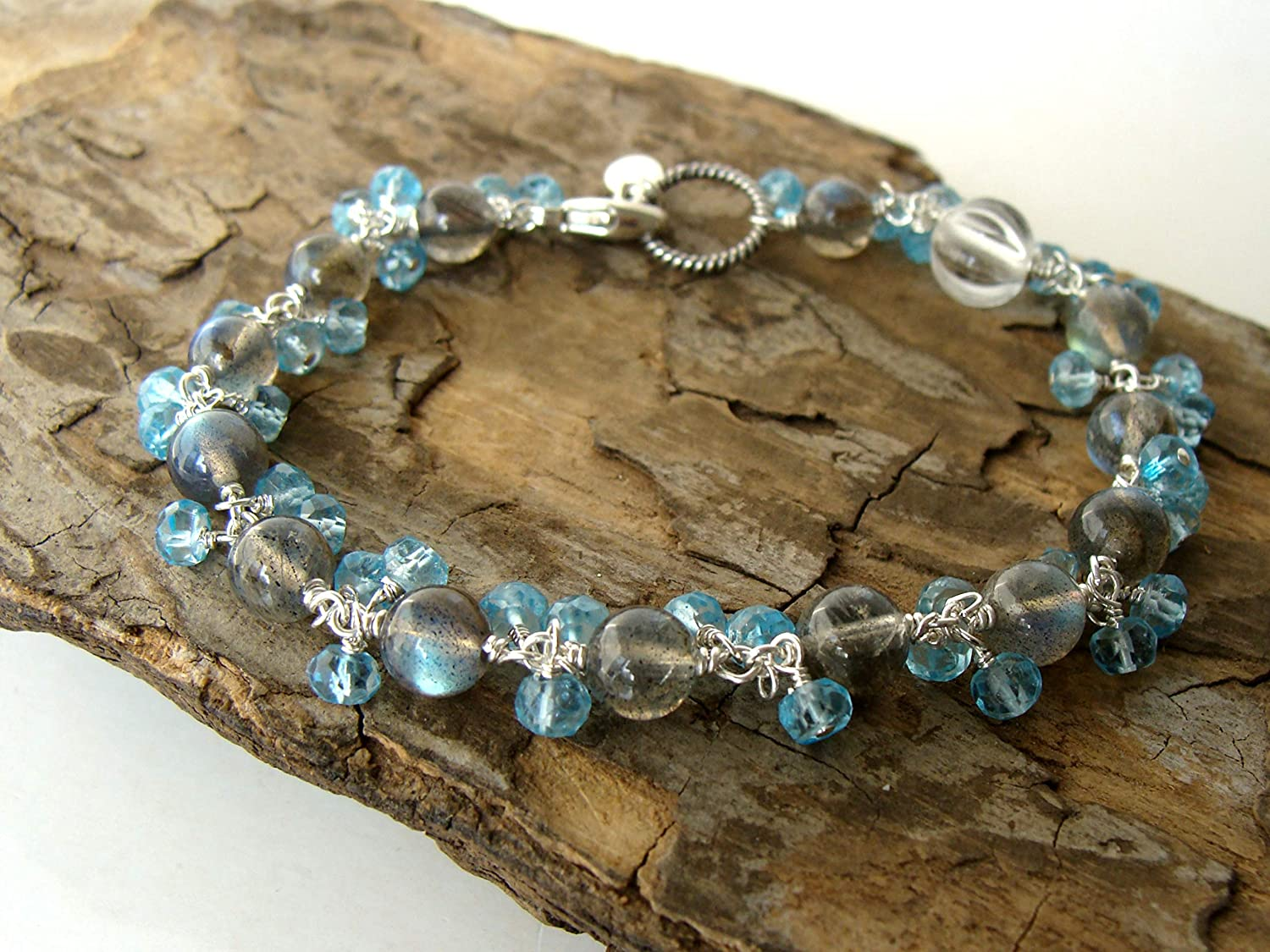 Black Blue Pearl Wire Wrapped Bangle Sterling Silver Rock Lobster Designs