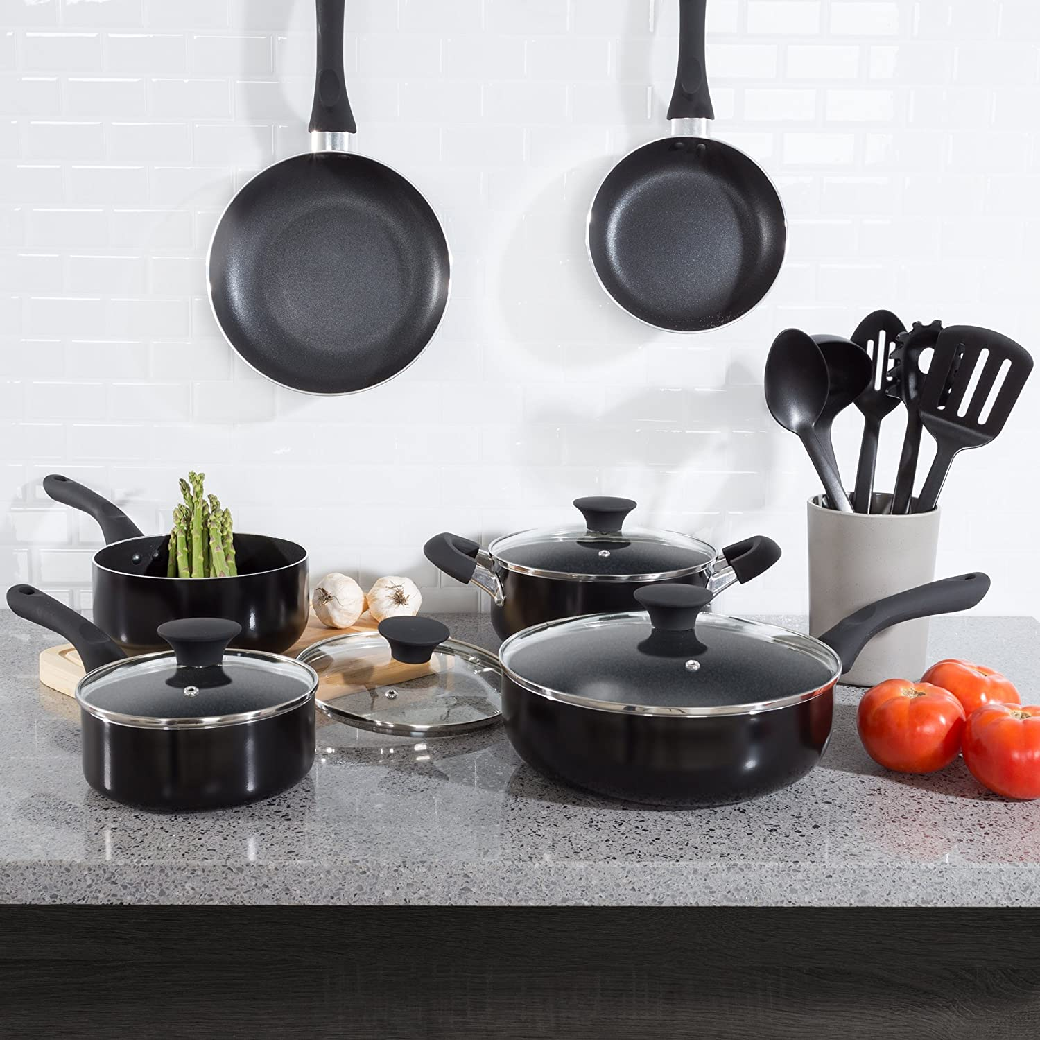 15PC Cookware Set Long Lasting Nonstick, Tempered Glass lids, Dishwasher Safe Allumi-shield with Induction Ready Bottom by Classic Cuisine - Black
