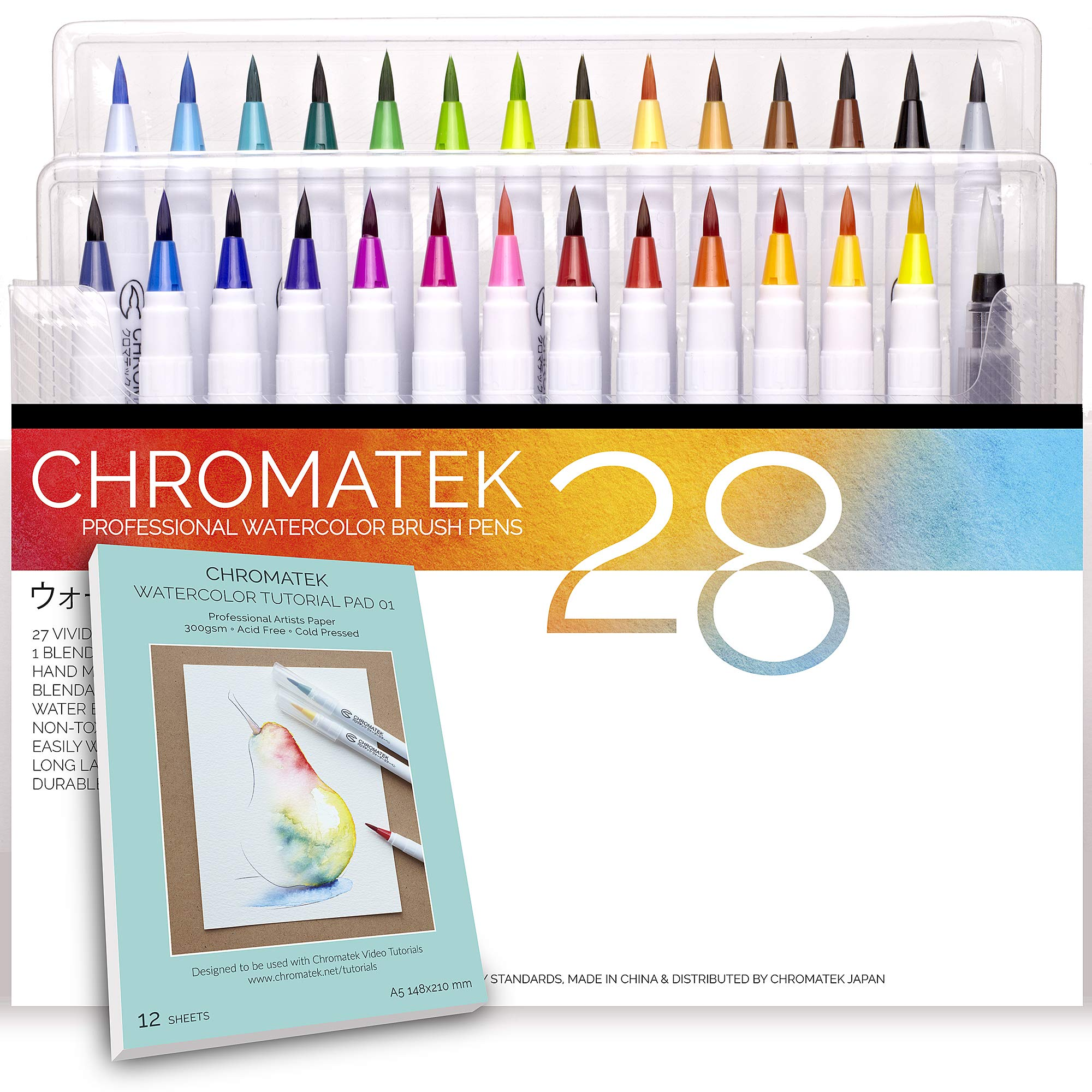 28 Watercolor Brush Pens, Tutorial Pad and Online Video Series by Chromatek. Real Brush Tip. Vivid. Smooth. Blendable. Long Lasting. Professional Artist Quality. 27 Colors 1 Blending Brush. ... by Chromatek