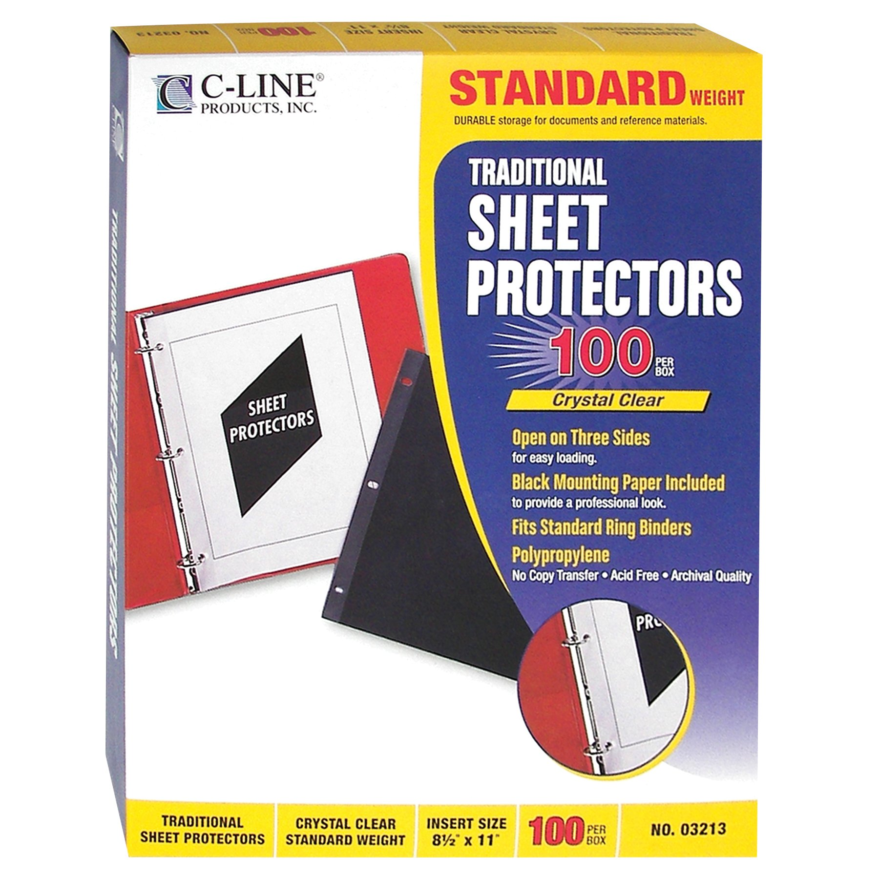 C-Line Traditional Standard Weight Poly Sheet Protectors, Clear, 8.5 x 11 Inches, 100 per Box (03213) by C-Line (Image #1)