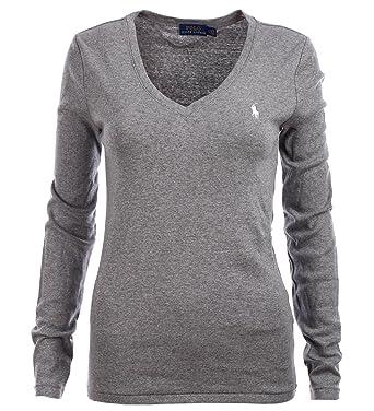 promo code 52c6b d8764 Ralph Lauren Polo Damen Langarmshirt Longsleeve Shirt Grau ...