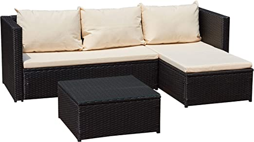 Jet-Line - Mueble de jardín Bergen II de color negro-beige de acero ...