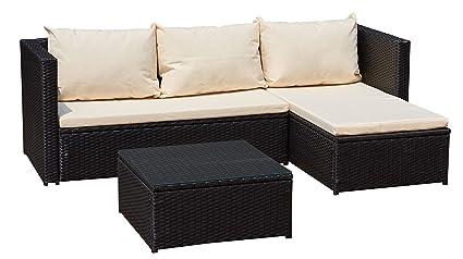 Jet-Line Garten Lounge Moebel Bergen III schwarz-beige aus Stahl Rattan  Polyrattan Garten Gartenausstattung