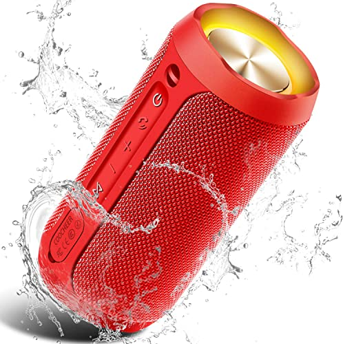 Wireless Speaker Bluetooth, COOCHEER 24W Bluetooth Portable Speaker with Party Light, IP67 Waterproof Portable Wireless Speakers for Outdoor, TWS, 20 Hour Playtime, Built-in mic,Dustproof-Red