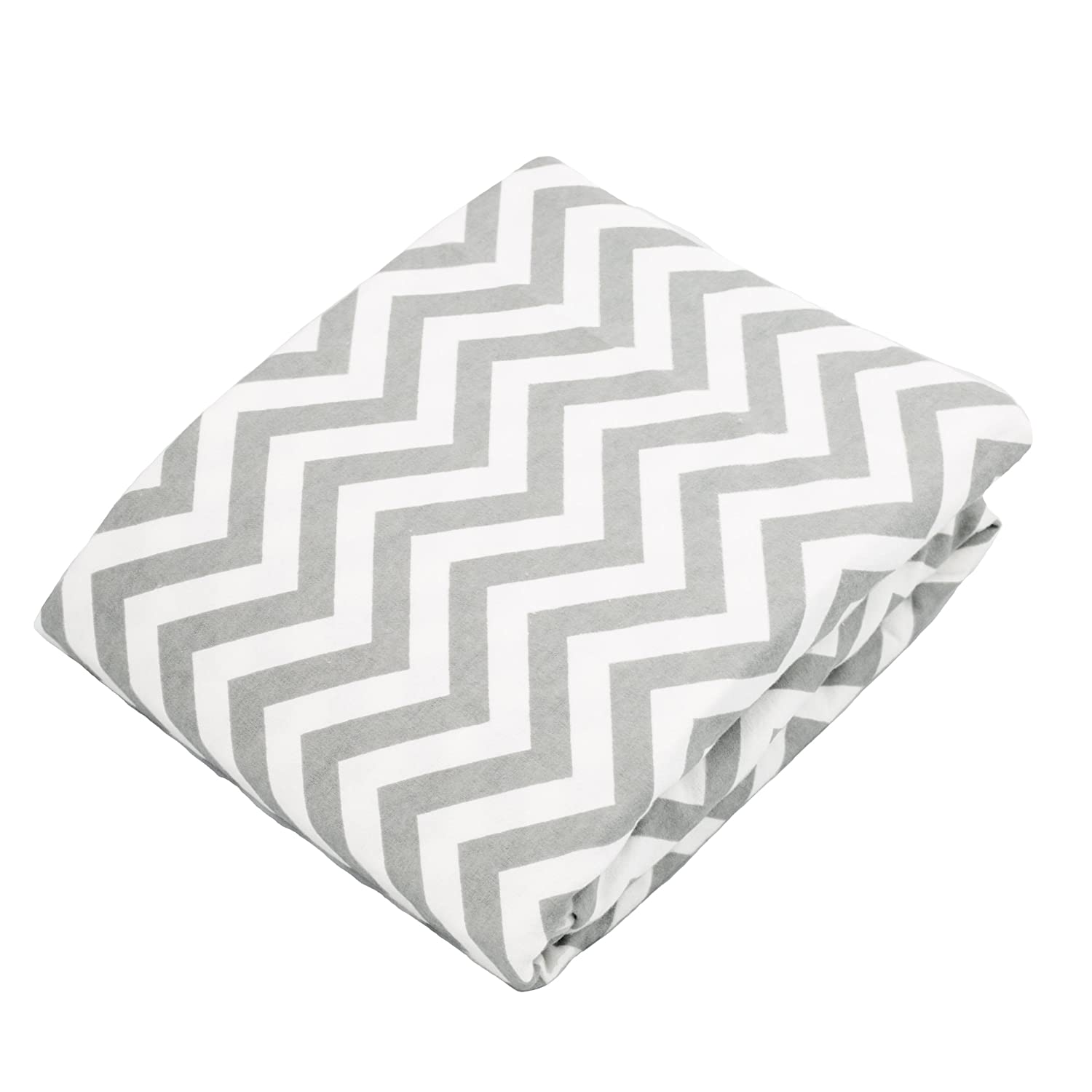 Kushies Changing Pad Cover for 1 pad, 100% breathable cotton, Made in Canada, Grey Chevron Kushies Baby S340-507