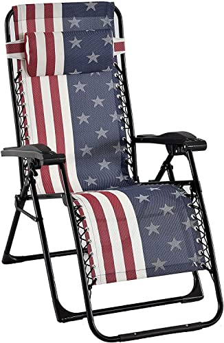 American Flag Zero Gravity Lounge Chair, 2 Pack