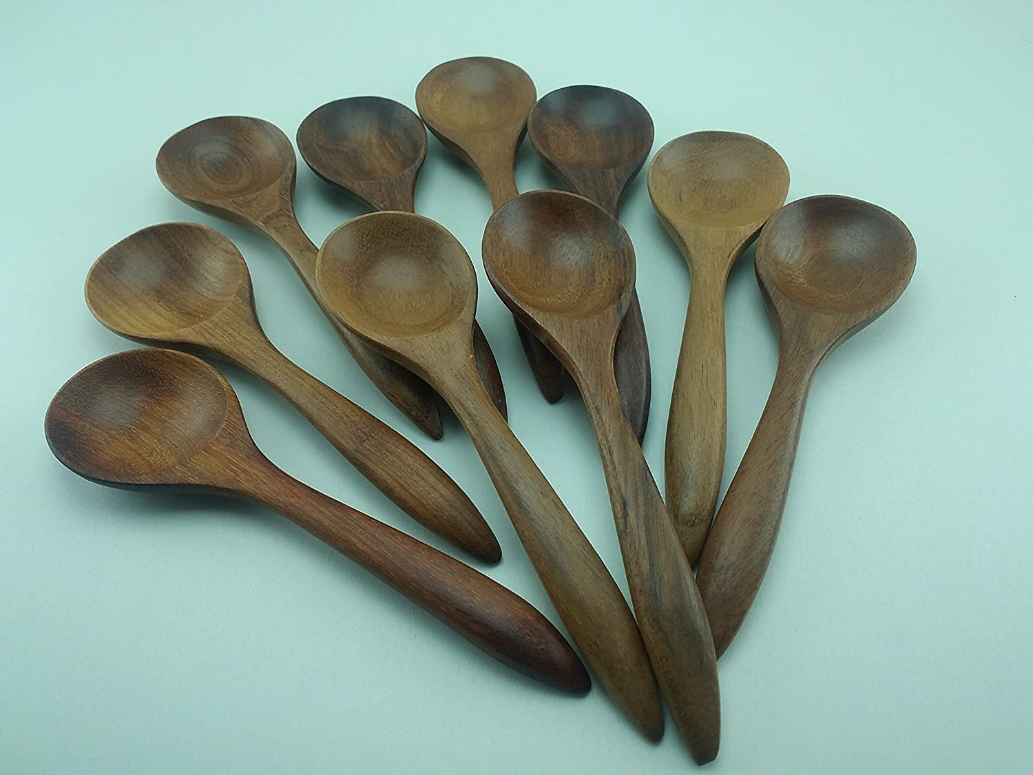 Amazon.com: Set of 10 Wooden Spoons Soup Handmade Wood 6\'\': Kitchen ...