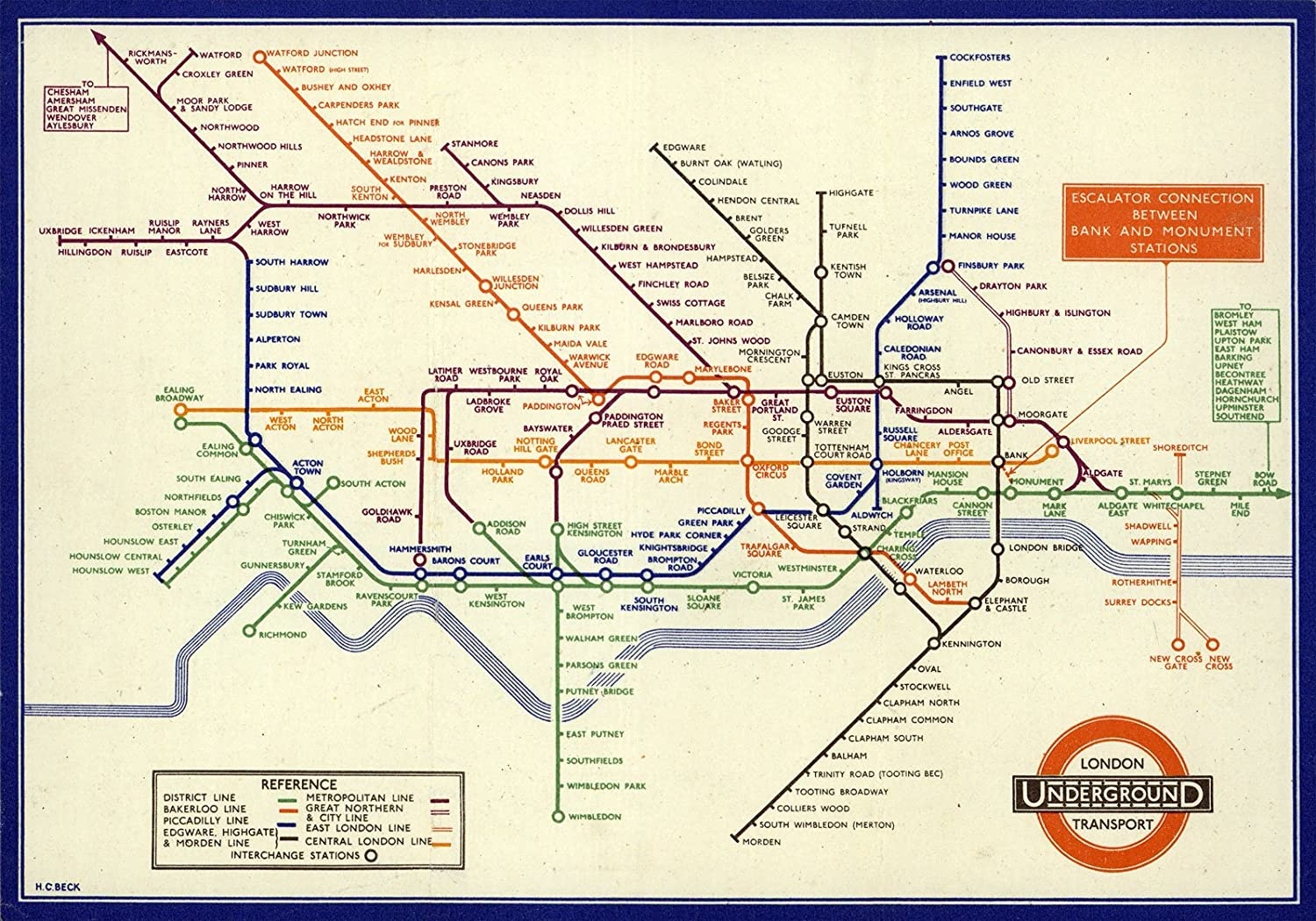 Subway Map Before 1933.1933 London Underground Map Metro Tube Historical Map Reprint 17 X