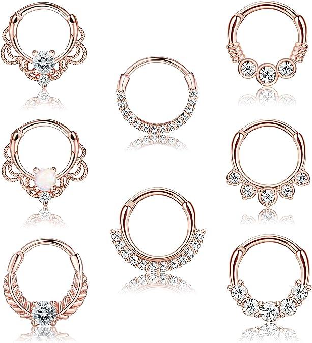Charming Segment Ring Titanium Septum Clicker Piercing Nose Lip Ear Ring YRZ8