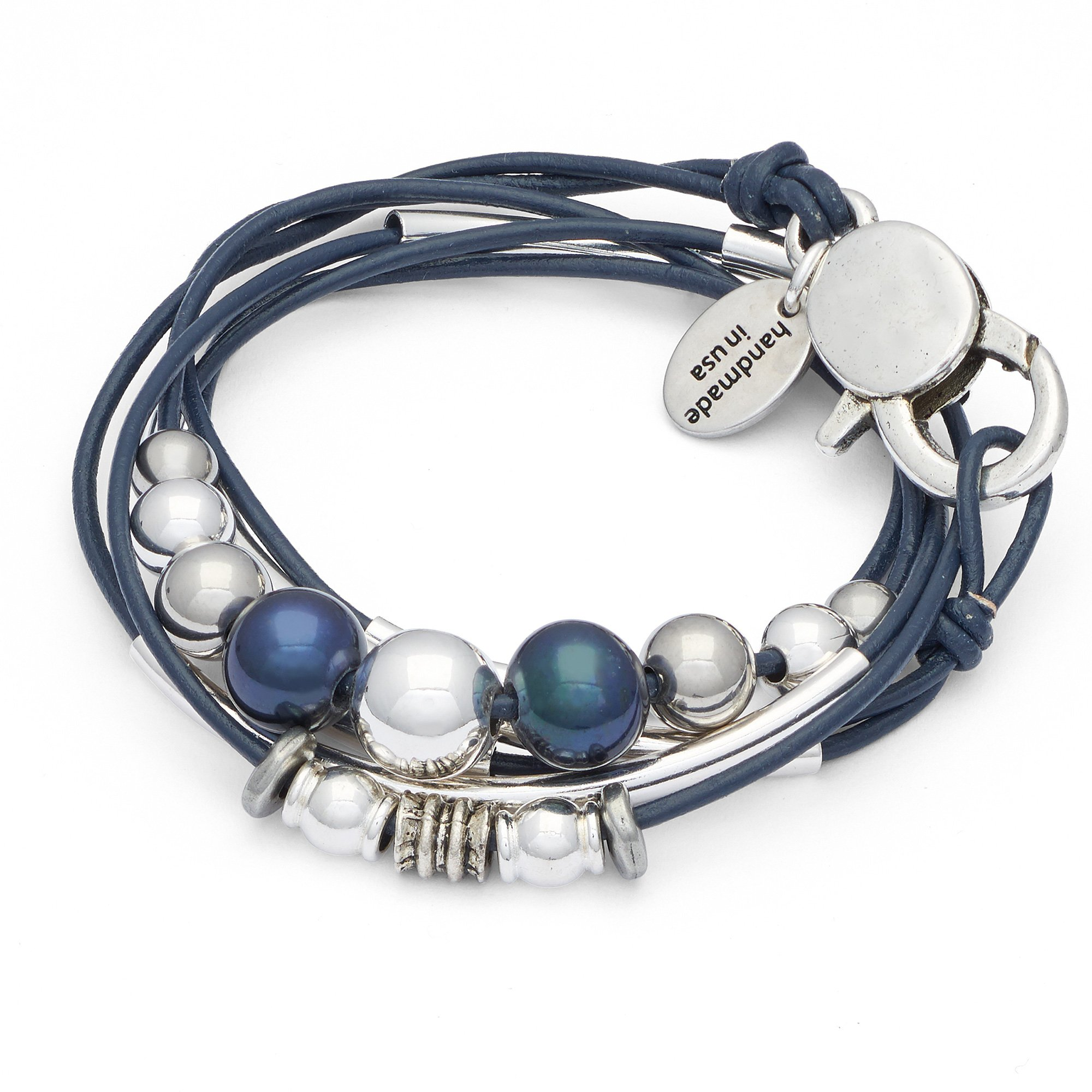 Lizzy James Mia 2 Strand Wrap Bracelet Necklace in Gloss Navy Leather by (Petite)