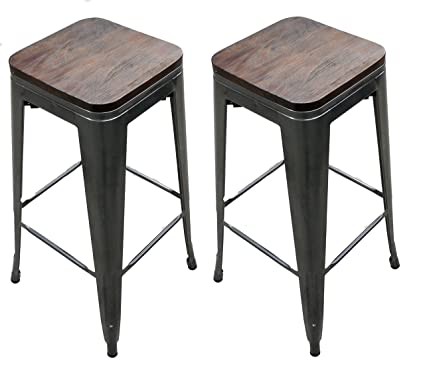 Magnificent Titan 30 Modern Metal Stacking Counter Bar Stool W Wood Seat Set Of 2 Gunmetal Beatyapartments Chair Design Images Beatyapartmentscom
