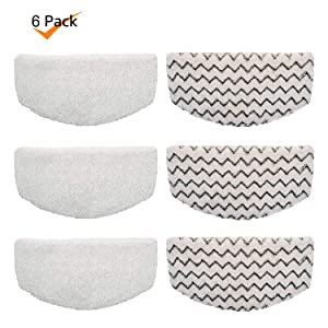 Rongbenyuan Bissell Steam Mop Pads 6 pcs for Bissell Powerfresh Steam Mop 1940 1440 1544 1806 2075 Series, Model 19402 19404 19408 19409 1940a 1940f 1940q 1940t 1940w B0006 B0017