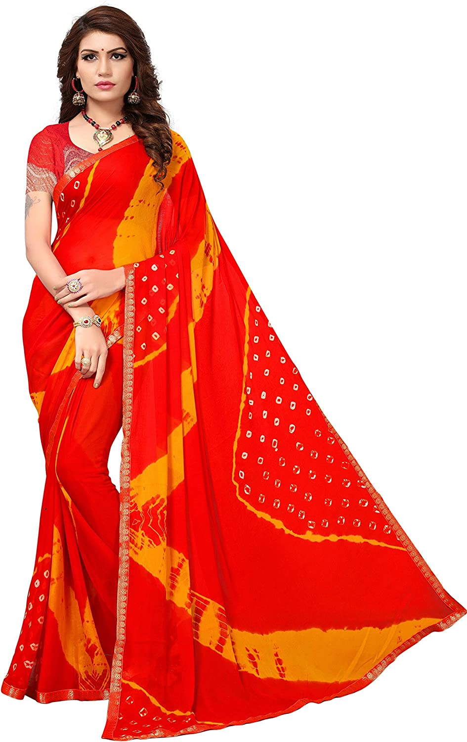 Set Of 2 Georgette Saree With printed cotton Readymade Stitched solid plain Blouse For Women Wedding Wear Party Wear Designer Sari Blouse