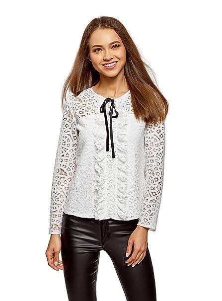 oodji Collection Mujer Blusa de Encaje con Lazos Decorativos, Blanco, ES 36 / XS