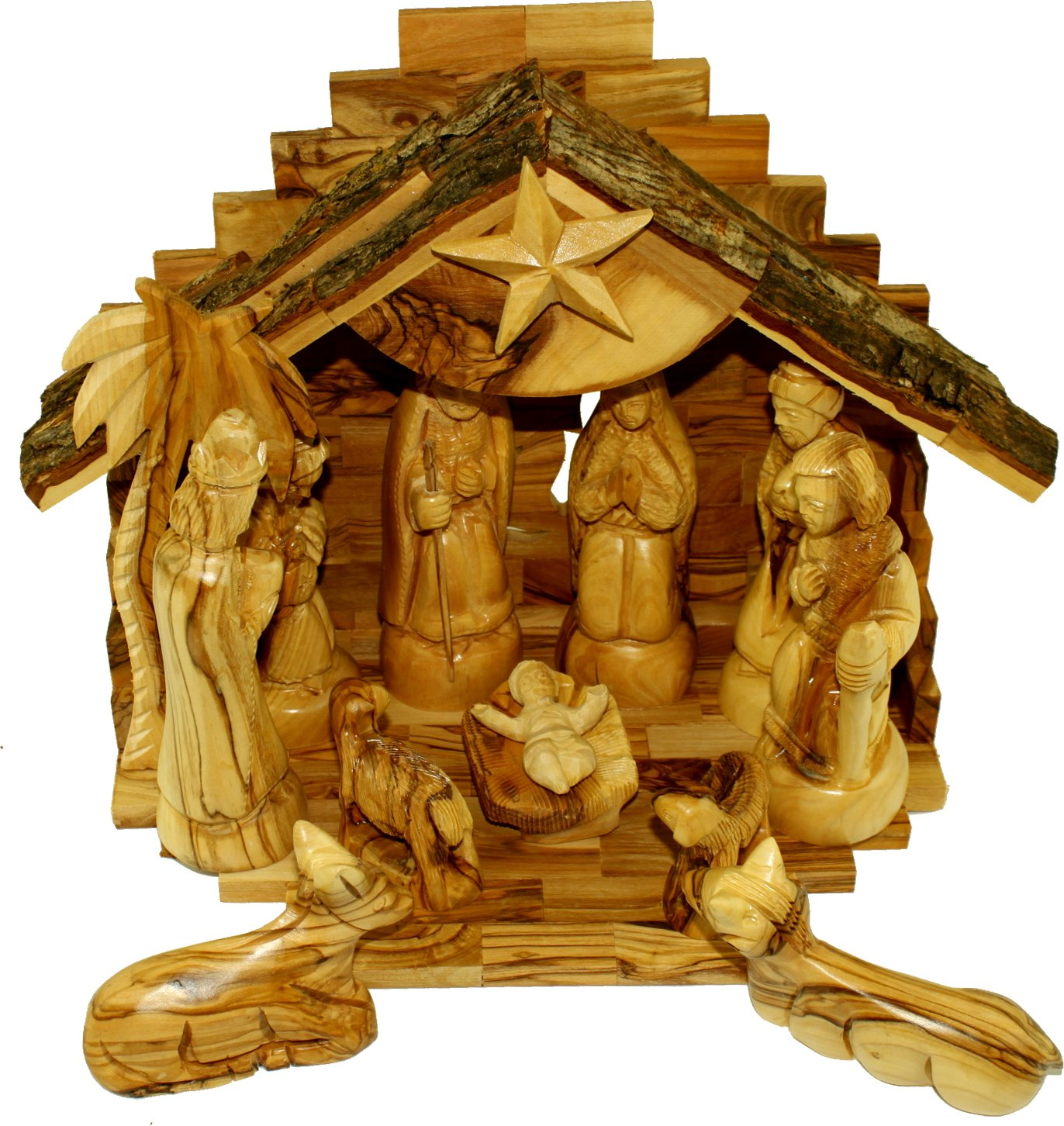 Olive Wood Silent Night Nativity (Standard Rustic Top ( 11 x 9 Inches ))