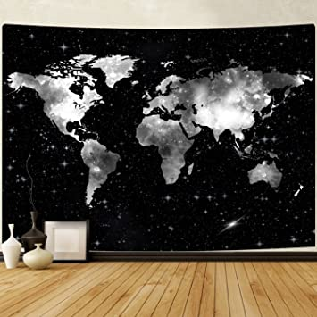 Amazon bleum cade starry world map tapestry wall hanging black bleum cade starry world map tapestry wall hanging black white map tapestry stars world tapestry gumiabroncs