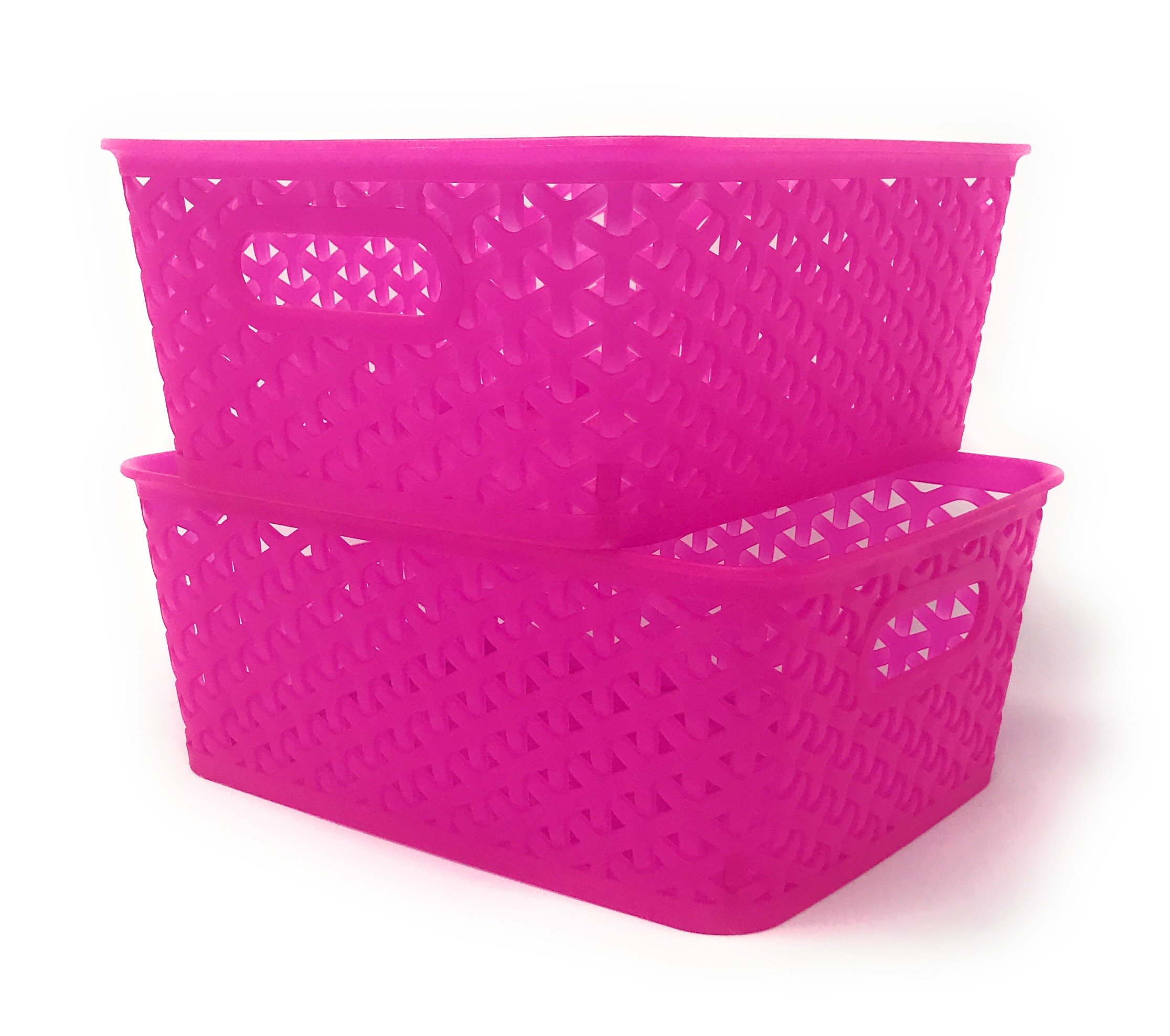 Basket Weave Plastic Storage Bin Set of 2 (10 x 8 x 4, Translucent Hot Pink)