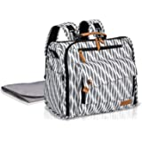 ALLCAMP Nappy Bag Multi-Functional Waterproof Diaper Bag Travel Backpack with Changing Pad (Black and White)