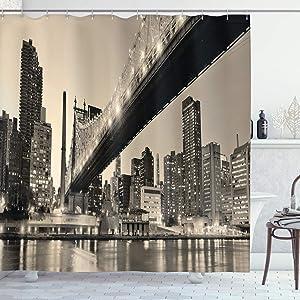 "Ambesonne New York Shower Curtain, Queensboro Bridge NYC Night Sepia Artprints Urban City View Modern Life Theme, Cloth Fabric Bathroom Decor Set with Hooks, 75"" Long, Brown Gray"