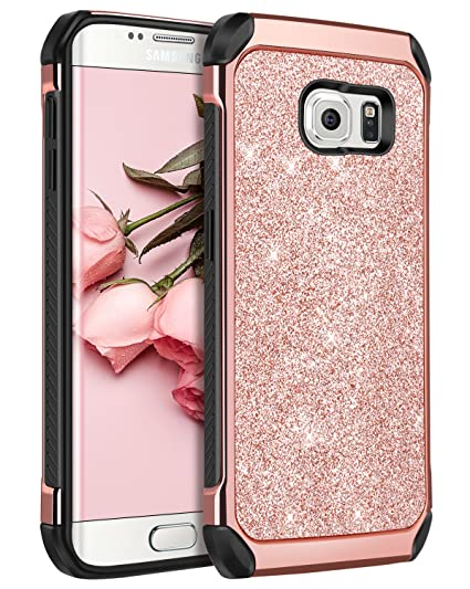 more photos 3f2d5 f367e Galaxy S6 Edge Case, S6 Edge Case, BENTOBEN 2 in 1 Luxury Glitter Bling  Hybrid Slim Hard Covers Sparkly Shiny Faux Leather Chrome Shockproof ...